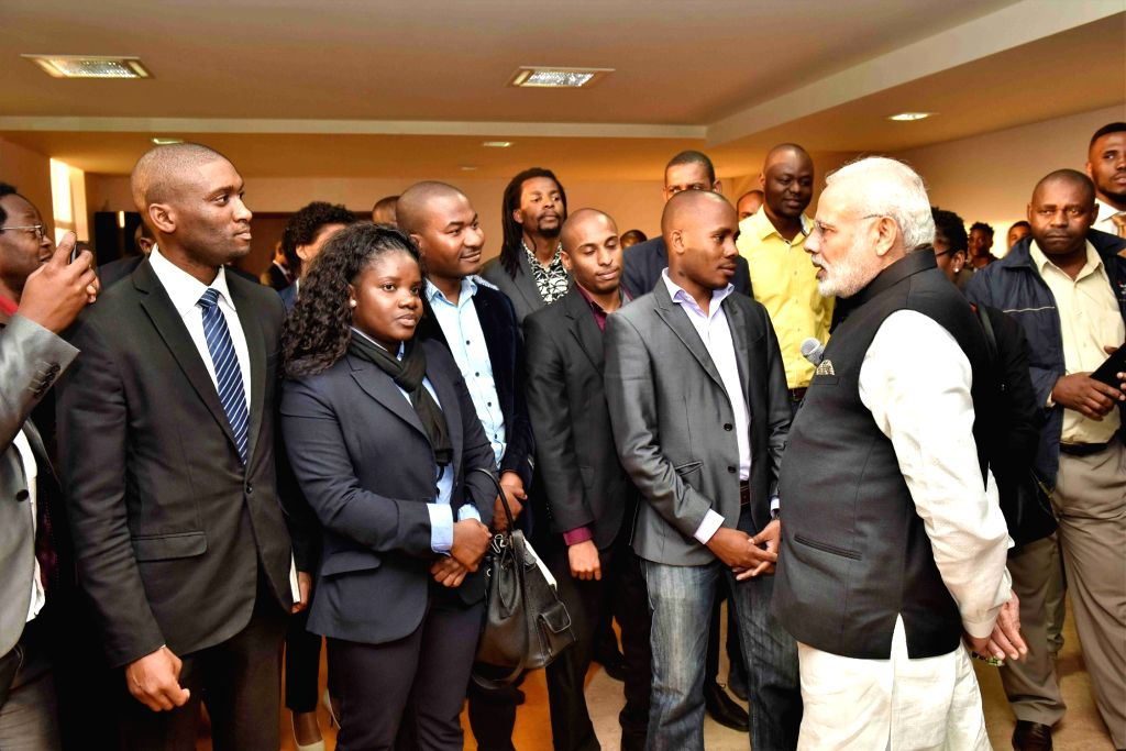 Prime Minister Narendra Modi interacts with the students who have studied in India under ITEC and other programmes, while visiting the Centre for Innovation & Technological Development ... - Narendra Modi
