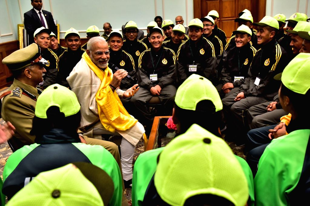 Prime Minister Narendra Modi interacts with the ITBP excursion groups of students from Sikkim and Ladakh in New Delhi on Feb 6, 2018. - Narendra Modi