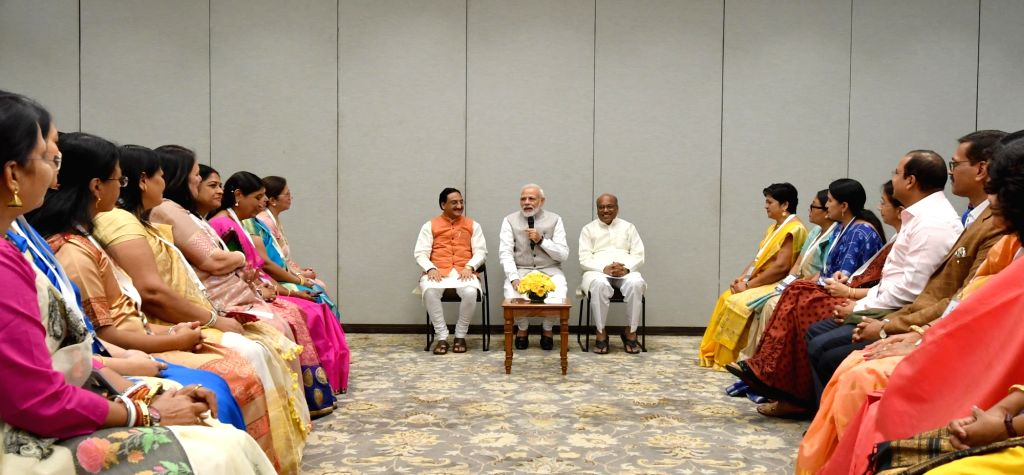 Prime Minister Narendra Modi interacts with the recipients of the National Teacher Awards' 2018, in New Delhi on Sep 3, 2019. Also seen Union Minister for Human Resource Development, Dr. ... - Narendra Modi
