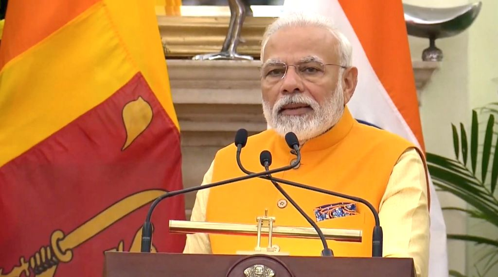 Prime Minister Narendra Modi issues a joint press statement along with Sri Lankan President Mahinda Rajapaksa (not in picture) in New Delhi on Feb 8, 2020. - Narendra Modi