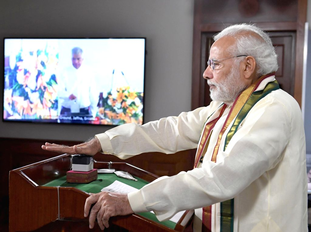 Prime Minister Narendra Modi joins the programme, through video bridge marking the expansion of Emergency Ambulance Services across the entire island of Sri Lanka, in New Delhi on July 21, ... - Narendra Modi