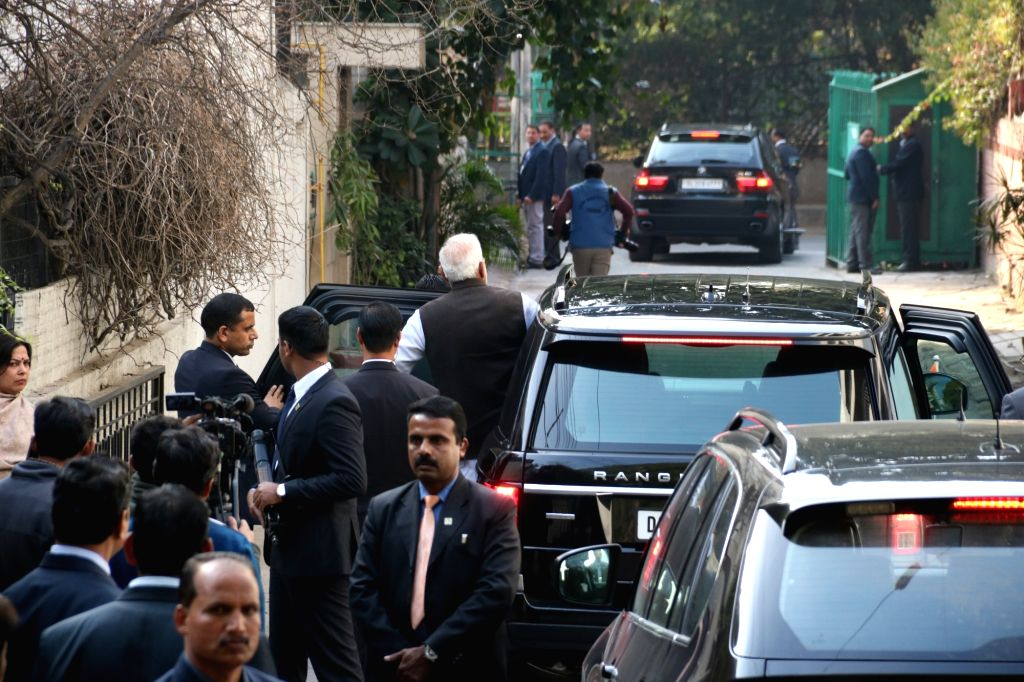 Prime Minister Narendra Modi leaves Former Defence Minister George Fernandes' residence after paying his last respects in New Delhi on Jan 29, 2019. Fernandes died at the age of 88 after ... - Narendra Modi and Fernandes