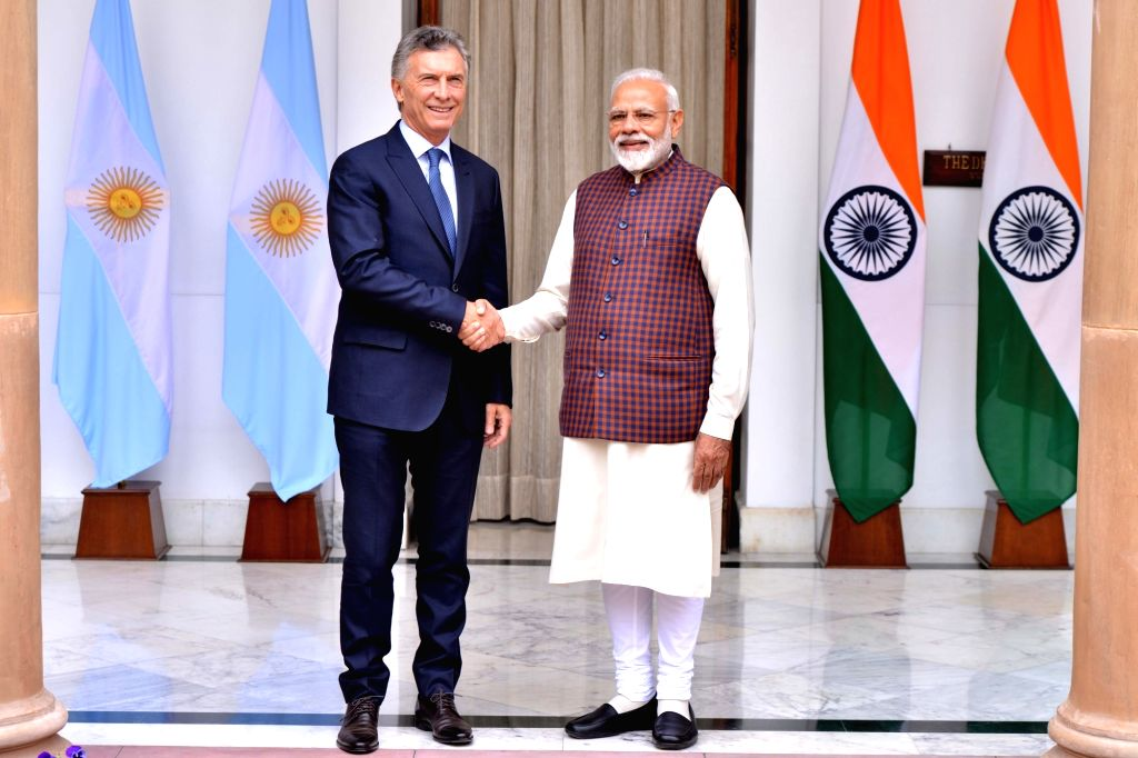 Prime Minister Narendra Modi meets Argentina President Mauricio Macri ahead of the delegation level talks at Hyderabad House, in New Delhi, on Feb 18, 2019. - Narendra Modi