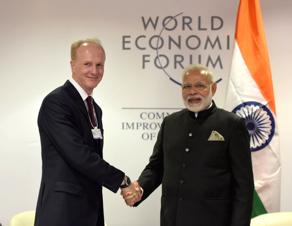 Prime Minister Narendra Modi meets Canada Pension Plan Investment Board (CPPIB) President and CEO Mark G.A. Machin in Davos, Switzerland on Jan 23, 2018. - Narendra Modi