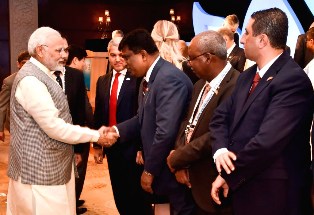 Prime Minister Narendra Modi meets dignitaries, at the 16th International Energy Forum Ministerial Meeting, in New Delhi on April 11, 2018. - Narendra Modi