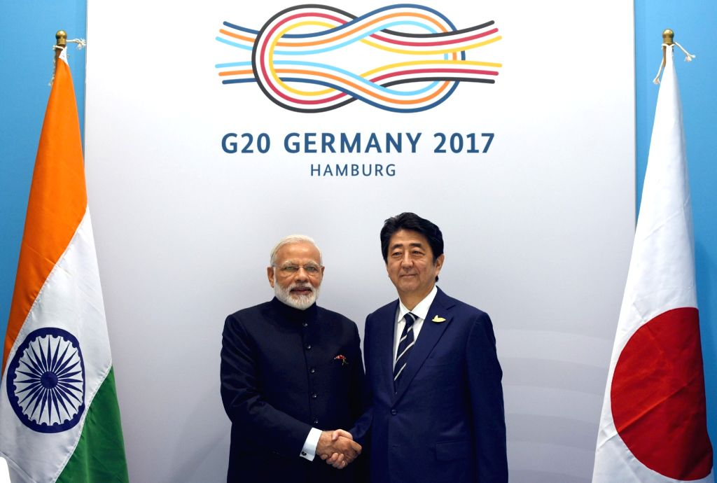 Prime Minister Narendra Modi meets Japan Prime Minister Shinzo Abe, on the sidelines of the 12th G-20 Summit in Hamburg, Germany on July 7, 2017. - Narendra Modi