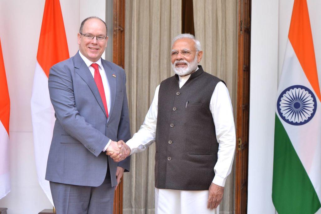 Prime Minister Narendra Modi meets Monaco's Head of State Prince Albert II at Hyderabad House in New Delhi, on Feb 5, 2019. - Narendra Modi