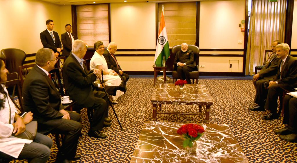 Prime Minister Narendra Modi meets Pravasi Bharatiya Samman Awardees from Israel, in Jerusalem on July 5, 2017. - Narendra Modi