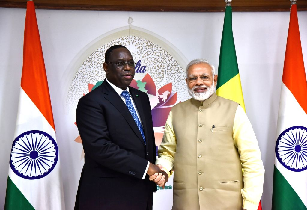 Prime Minister Narendra Modi meets President of Republic of Senegal Macky Sall, on the sidelines of the 52nd African Development Bank Annual meeting, in Gandhinagar, Gujarat on May 23, ... - Narendra Modi
