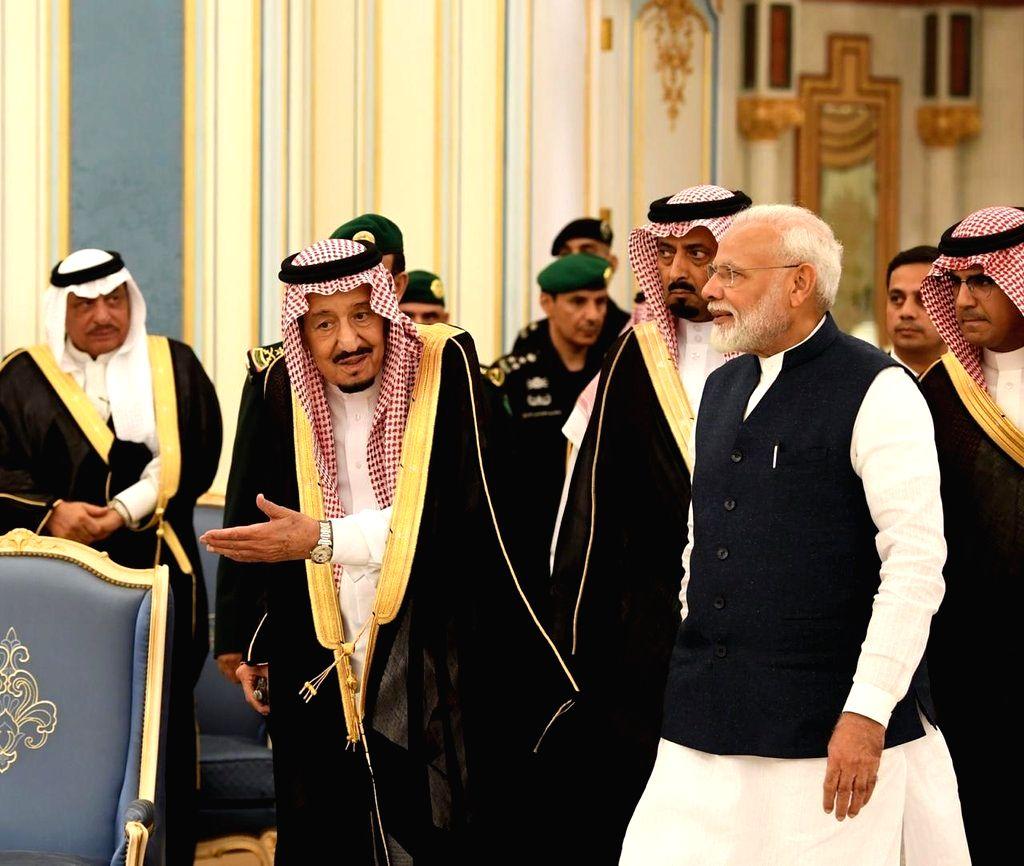 Prime Minister Narendra Modi meets Saudi King Salman bin Abdulaziz Al Saud in Riyadh, on Oct 29, 2019. - Narendra Modi