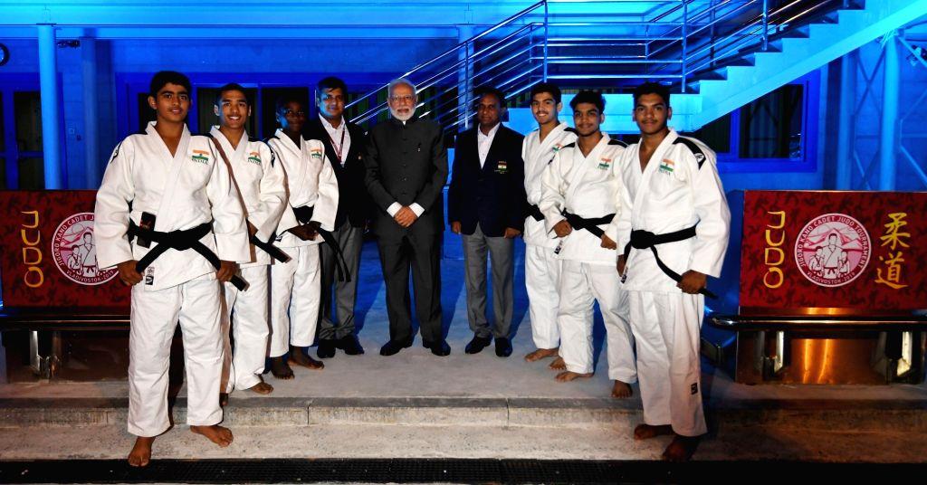 Prime Minister Narendra Modi meets the Judo team representing India at the Fetisov Arena (Judo Tournament) in Vladivostok, Russia on Sep 5, 2019. - Narendra Modi