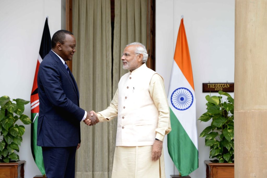 Prime Minister Narendra Modi meets the Kenya President Uhuru Kenyatta during the 3rd India Africa Forum Summit, in New Delhi on Oct 28, 2015. - Narendra Modi