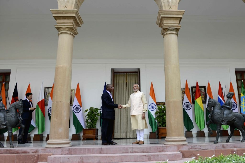 Prime Minister Narendra Modi meets the Lesotho Prime Minister Pakalitha Mosisili during the 3rd India Africa Forum Summit, in New Delhi on Oct 28, 2015. - Narendra Modi