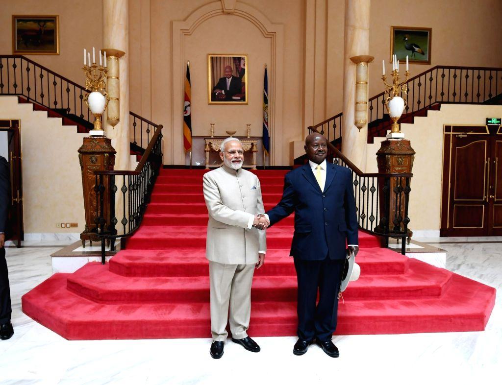 Prime Minister Narendra Modi meets Uganda President Yoweri Museveni in Kampala, Uganda on July 24, 2018. - Narendra Modi