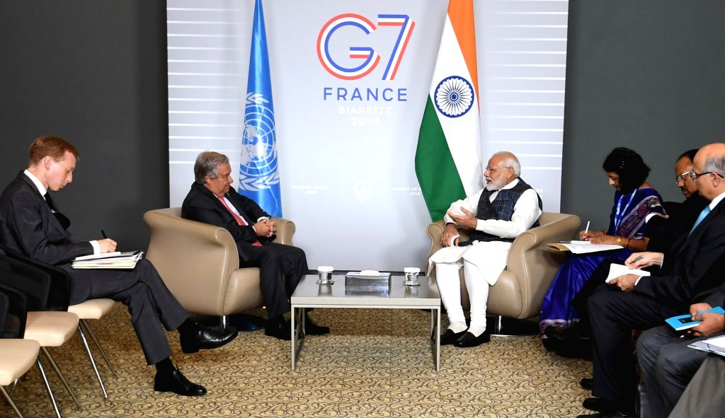 Prime Minister Narendra Modi meets United Nations Secretary General Antonio Guterres on the sidelines of the G7 Summit in Biarritz, France on Aug 25, 2019. - Narendra Modi