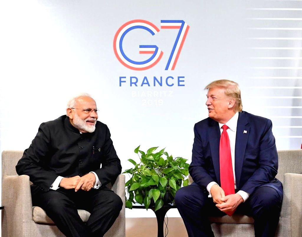 Prime Minister Narendra Modi meets US President Donald Trump on the sidelines of the G7 Summit in Biarritz, France on Aug 26, 2019. - Narendra Modi