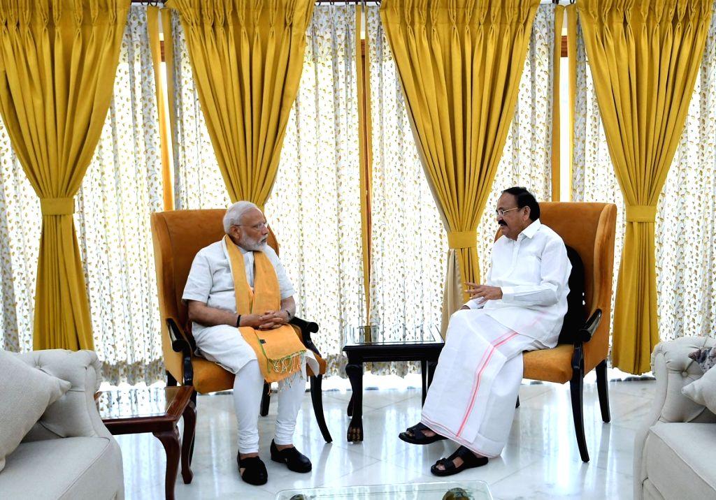 Prime Minister Narendra Modi meets Vice President M. Venkaiah Naidu, in New Delhi, on May 26, 2019. - Narendra Modi and M. Venkaiah Naidu