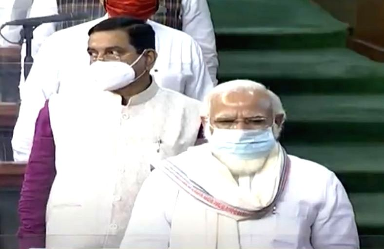 Prime Minister Narendra Modi observes a 2-minute silence to honour the 15 parliamentarians who passed away this year, in the first Lok Sabha session on the first day of the Monsoon Session ... - Narendra Modi