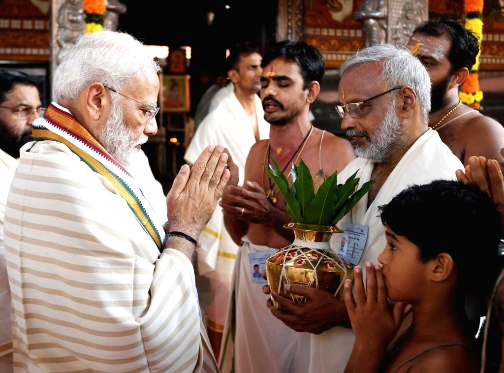 Prime Minister Narendra Modi offers prayers at the Sri Krishna Temple in Guruvayur of Thrissur in Kerala, on June 8, 2019. - Narendra Modi