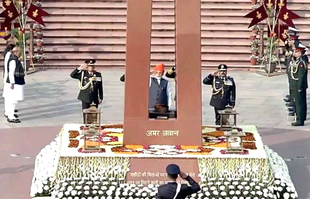 Prime Minister Narendra Modi pays tributes to the martyred soldiers at National War Memorial on the occasion of India's 71st Republic Day, in New Delhi on Jan 26, 2020. Also seen Defence ... - Narendra Modi and Rajnath Singh