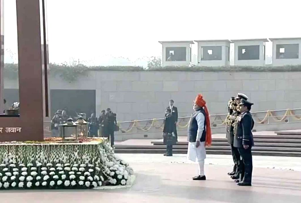 Prime Minister Narendra Modi pays tributes to the martyred soldiers at National War Memorial on the occasion of India's 71st Republic Day, in New Delhi on Jan 26, 2020. - Narendra Modi