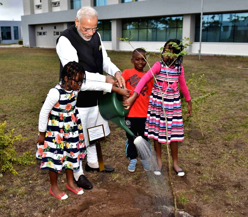 Prime Minister Narendra Modi plants a sapling of African mahogany, at the Centre for Innovation & Technological Development (CITD), at Maluana, in Mozambique on July 7, 2016. - Narendra Modi