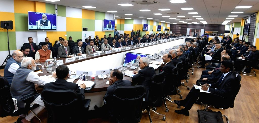 Prime Minister Narendra Modi presides over the All India Conference of Director Generals /Inspector Generals of Police 2019 at IISER in Pune on Dec 7, 2019. Also seen Union Home Minister Amit ... - Narendra Modi, Amit Shah, G. Kishen Reddy and Nityanand Rai