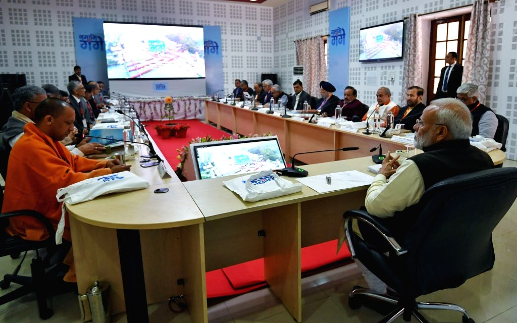 Prime Minister Narendra Modi presides over the first National Ganga Council meeting where he also reviewed the 'Namami Gange' project and its first hand experience of the impact of the ... - Narendra Modi, Trivendra Singh Rawat, Sushil Kumar Modi, Gajendra Singh Shekhawat, Narendra Singh Tomar and Rajiv Ranjan Mishra