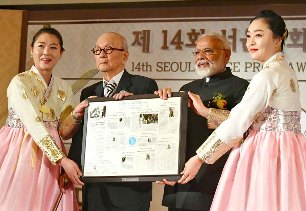Prime Minister Narendra Modi receives the Seoul Peace Prize, in Seoul, South Korea, on Feb 22, 2019. - Narendra Modi