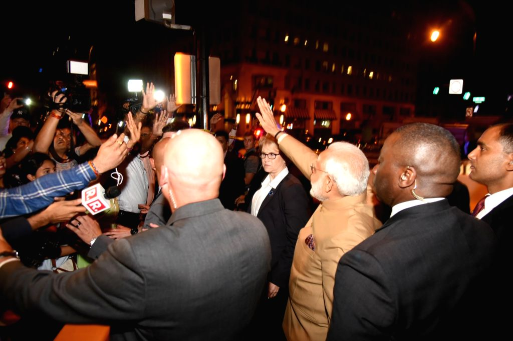 Prime Minister Narendra Modi receives warm welcome by the people of Indian community, on his arrival at Joint Base Andrews, Washington DC, USA on June 24, 2017. - Narendra Modi