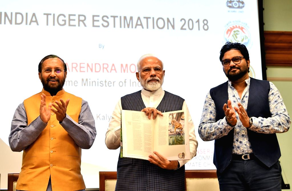 Prime Minister Narendra Modi releases results of 4th cycle of All India Tiger Estimation ??? 2018 on the occasion of International Tiger Day, in New Delhi on July 29, 2019. Also seen Union ... - Narendra Modi