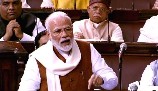 Prime Minister Narendra Modi replies in Rajya Sabha to the Motion of Thanks on the President???s Address, on Feb 6, 2020. - Narendra Modi