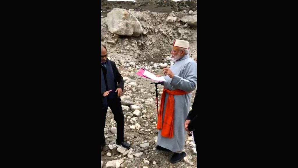 Prime Minister Narendra Modi reviews redevelopment projects in Kedarnath, Uttarakhand on May 18, 2019. (Video Grab: Twitter/@narendramodi) - Narendra Modi