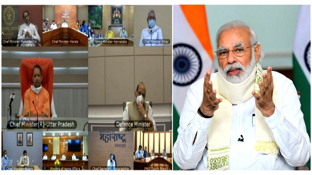 Prime Minister Narendra Modi reviews the Flood Situation & Flood management in the country, through video conferencing, in New Delhi on Aug 10, 2020. - Narendra Modi