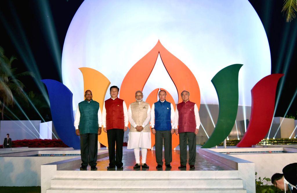 Prime Minister Narendra Modi, Russian President Vladimir Putin, Chinese President Xi Jinping, South African President Jacob Zuma and Brazilian President Michel Temer ahead of BRICS Informal ... - Narendra Modi