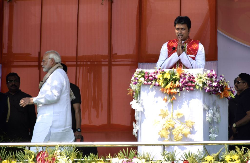 Prime Minister Narendra Modi's Rs 20 lakh crore economic package will benefit the people of Tripura to the tune of Rs 4,802 crore apart from other benefits, Chief Minister Biplab Kumar Deb said on Friday. (Photo: IANS) - Narendra Modi and Biplab Kumar Deb