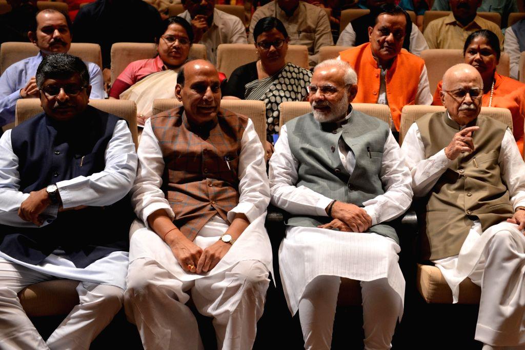 Prime Minister Narendra Modi, senior leaders LK Advani, Rajnath SIngh, Ravi Shankar Prasad with other leaders at BJP Parliamentary Party meeting in New Delhi on April 6, 2018. - Narendra Modi