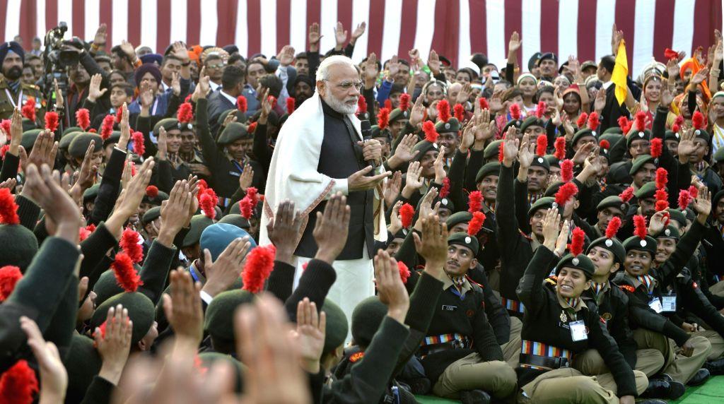 Prime Minister Narendra Modi talks to the NCC Cadets at Teen Murti Lawns in New Delhi on Jan 27, 2018. - Narendra Modi