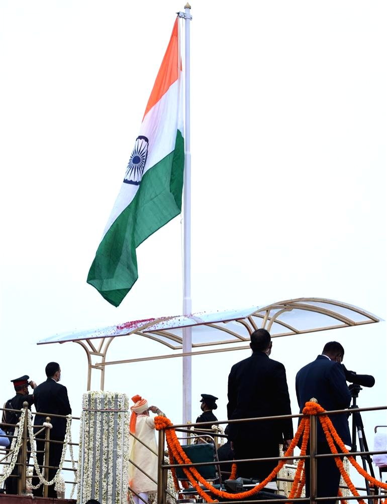 Prime Minister Narendra Modi unfurling the tricolour at the ramparts of Red Fort during the 74th Independence Day celebrations, in New Delhi on Aug 15, 2020. - Narendra Modi