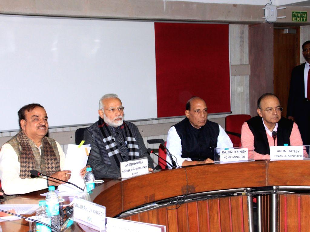 Prime Minister Narendra Modi, Union Home Minister Rajnath Singh, Union Parliamentary Affairs Minister Ananth Kumar, Union Home Minister Rajnath Singh and Union Finance Minister Arun ... - Narendra Modi, Rajnath Singh, Ananth Kumar and Arun Jaitley
