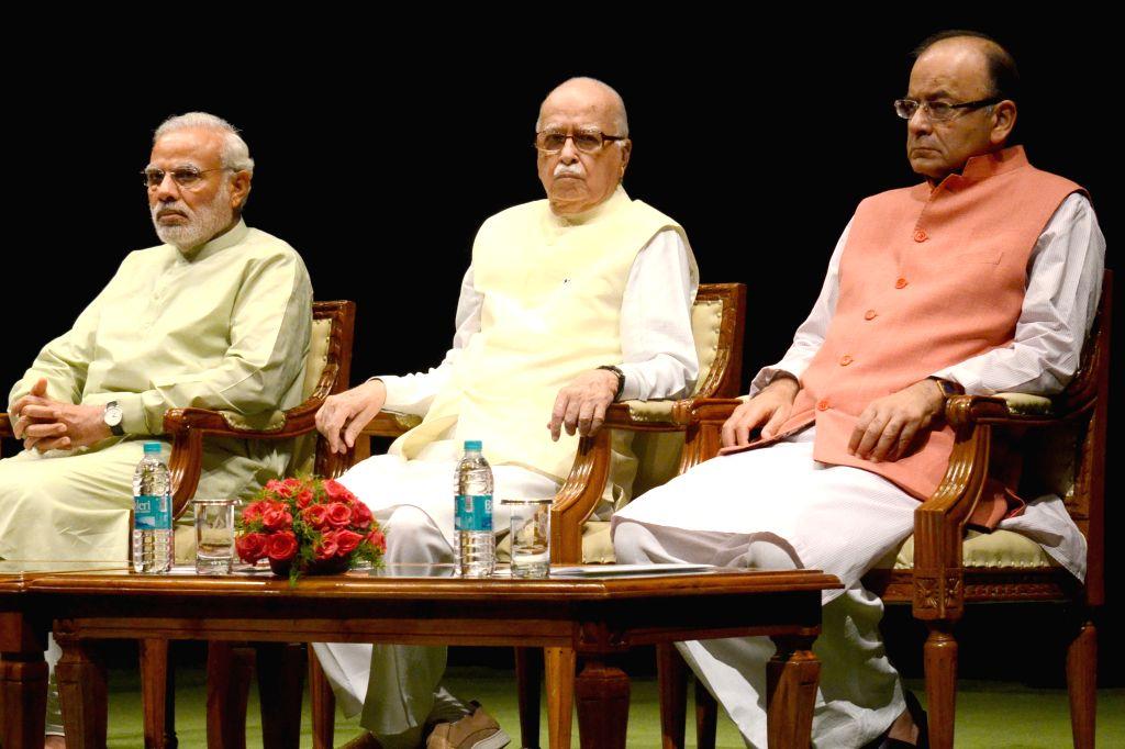 Prime Minister Narendra Modi, Union Minister for Urban Development, Housing and Urban Poverty Alleviation and Parliamentary Affairs M. Venkaiah Naidu and BJP veteran LK Advani during BJP ... - Narendra Modi and M. Venkaiah Naidu