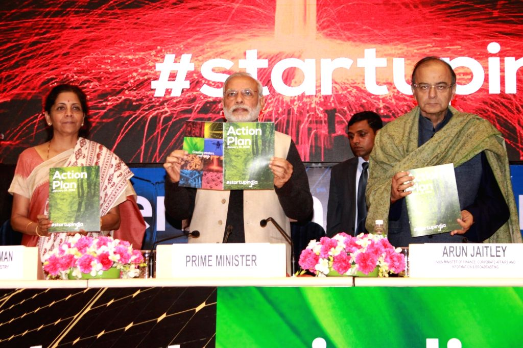 Prime Minister Narendra Modi, Union Minister for Finance, Corporate Affairs and Information and Broadcasting Arun Jaitley and Union MoS Commerce and Industry Nirmala Sitharaman at the ... - Narendra Modi and Arun Jaitley