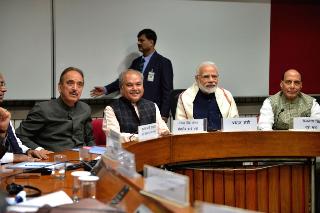 Prime Minister Narendra Modi, Union Ministers Rajnath Singh and Narendra Singh Tomar and Congress MP Ghulam Nabi Azad during an all party meeting ahead of the Winter session of Parliament, ... - Narendra Modi, Ministers Rajnath Singh and Narendra Singh Tomar