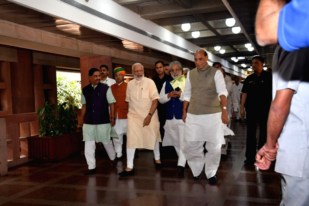 Prime Minister Narendra Modi, Union Ministers Rajnath Singh and Arjun Ram Meghwal along with TMC leaders Sudip Bandyopadhyay and others during the all party meeting in New Delhi, on June ... - Narendra Modi, Ministers Rajnath Singh and Arjun Ram Meghwal