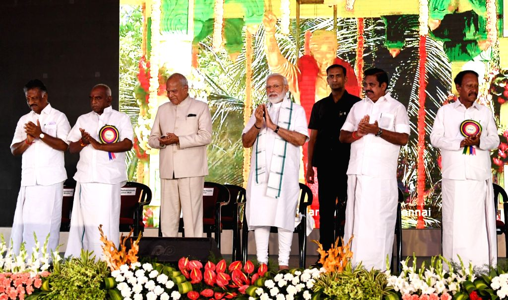 Prime Minister Narendra Modi unveils the statue of Dr. M.G. Ramachandran, at Dr. M.G.R. Janaki College of Arts & Science for Women, Chennai through video link, in Kancheepuram of ... - Narendra Modi