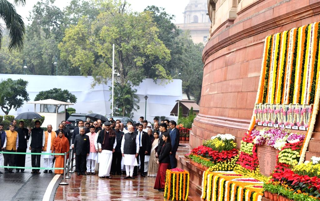 Prime Minister Narendra Modi, Vice President M. Venkaiah Naidu, Union Minister Pralhad Joshi and other legislators pay tributes to the martyrs on 18th anniversary of Parliament attack at ... - Narendra Modi, M. Venkaiah Naidu and Pralhad Joshi