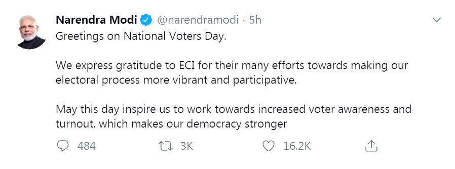 Prime Minister Narendra Modi, Vice President M. Venkaiah Naidu and other leaders across the country extended their greetings to the people on the occasion of the 10th National Voters Day on Saturday. - Narendra Modi and M. Venkaiah Naidu