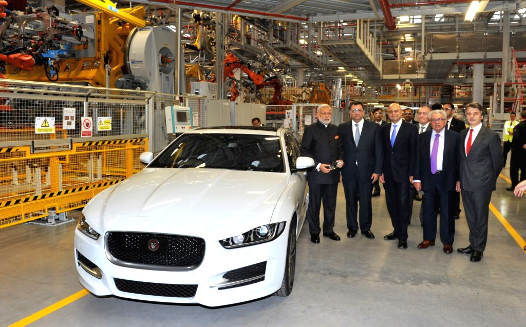 Prime Minister Narendra Modi visits Jaguar Land Rover (JLR) plant, a subsidiary of India's Tata Motors at Solihull, UK on Nov 14, 2015. - Narendra Modi