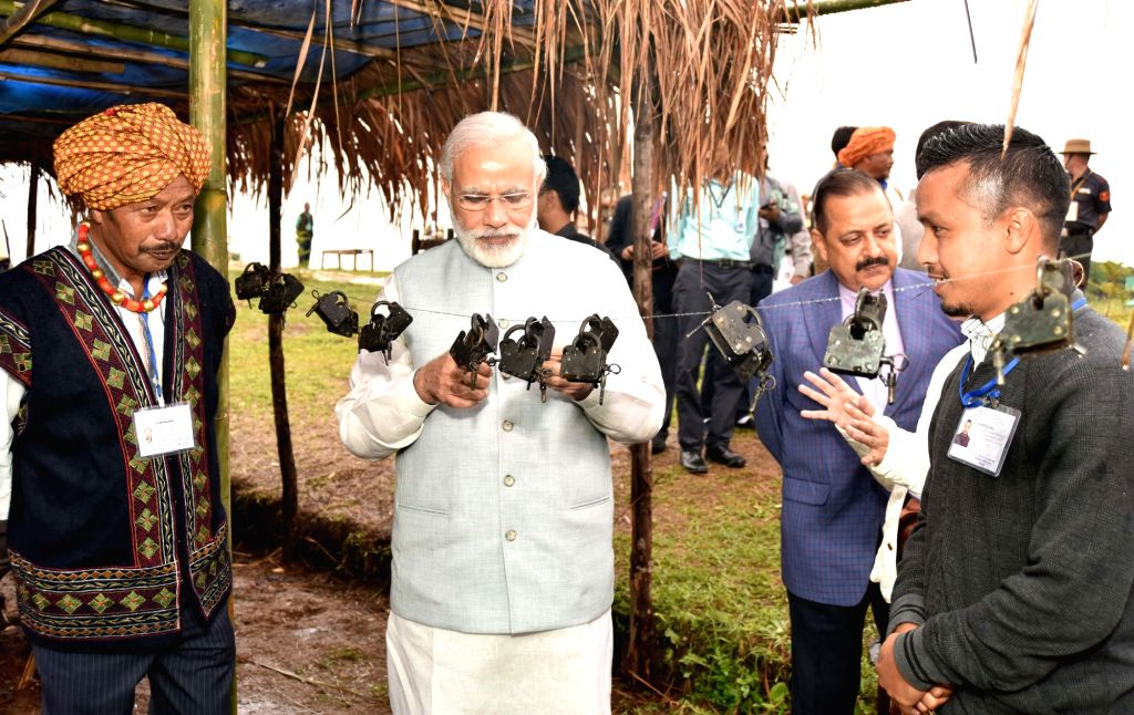 Prime Minister Narendra Modi visits the Heritage Village, in Meghalaya on May 28, 2016. Also seen Minister of State for Development of North Eastern Region (I/C), Youth Affairs and Sports ... - Narendra Modi and Jitendra Singh