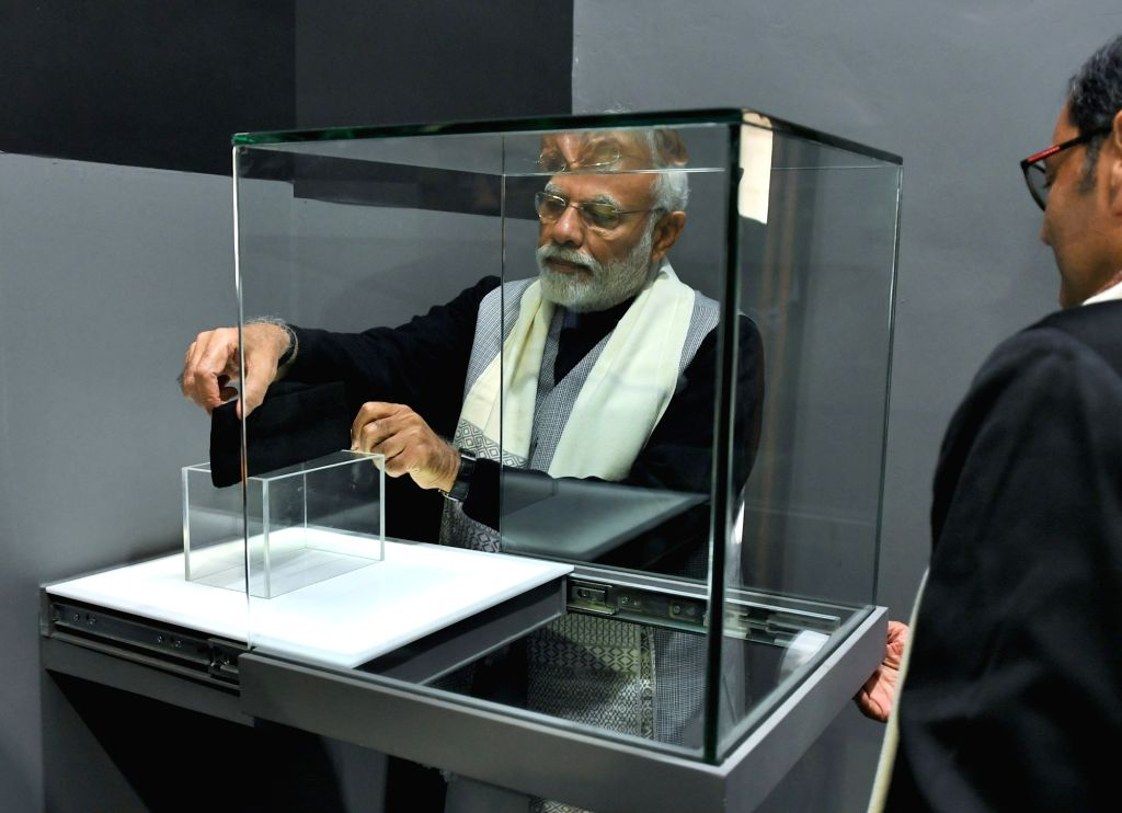 Prime Minister Narendra Modi visits the Museum on Netaji Subhas Chandra Bose and Indian National Army at Red Fort in New Delhi, on Jan 23, 2019. - Narendra Modi